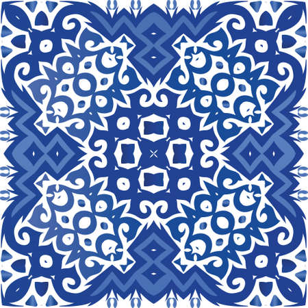 Portuguese ornamental azulejo ceramic. Vector seamless pattern frame. Universal design. Blue vintage backdrop for wallpaper, web background, towels, print, surface texture, pillows.