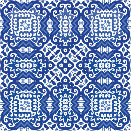 Traditional ornate portuguese azulejo. Vector seamless pattern illustration. Graphic design. Blue abstract background for web backdrop, print, pillows, surface texture, wallpaper, towels.