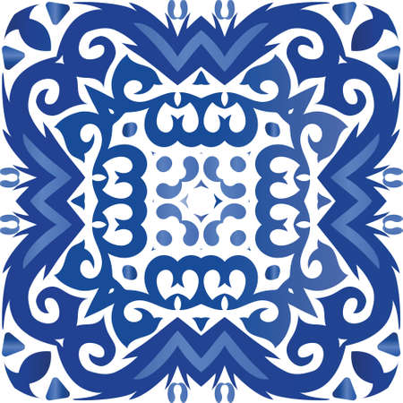Ceramic tiles azulejo portugal. Stylish design. Vector seamless pattern template. Blue ethnic background for T-shirts, scrapbooking, linens, smartphone cases or bags.