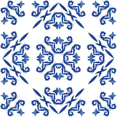 Portuguese ornamental azulejo ceramic. Bathroom design. Vector seamless pattern elements. Blue vintage backdrop for wallpaper, web background, towels, print, surface texture, pillows.
