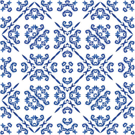 Ornamental azulejo portugal tiles decor. Vector seamless pattern frame. Creative design. Blue gorgeous flower folk print for linens, smartphone cases, scrapbooking, bags or T-shirts. Illusztráció