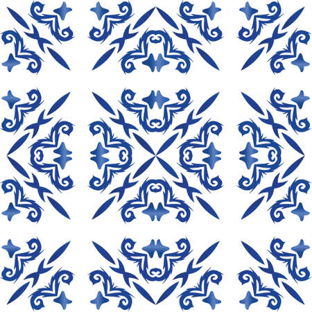 Antique portuguese azulejo ceramic. Vector seamless pattern illustration. Universal design. Blue floral and abstract decor for scrapbooking, smartphone cases, T-shirts, bags or linens. Illusztráció