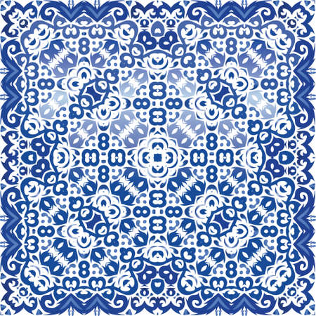 Portuguese ornamental azulejo ceramic. Vector seamless pattern flyer. Geometric design. Blue vintage backdrop for wallpaper, web background, towels, print, surface texture, pillows.