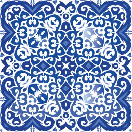 Decorative color ceramic azulejo tiles. Colored design. Vector seamless pattern watercolor. Blue folk ethnic ornament for print, web background, surface texture, towels, pillows, wallpaper.