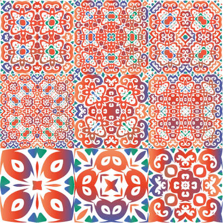 Ethnic ceramic tiles in mexican talavera. Fashionable design. Kit of vector seamless patterns. Red vintage ornaments for surface texture, towels, pillows, wallpaper, print, web background.
