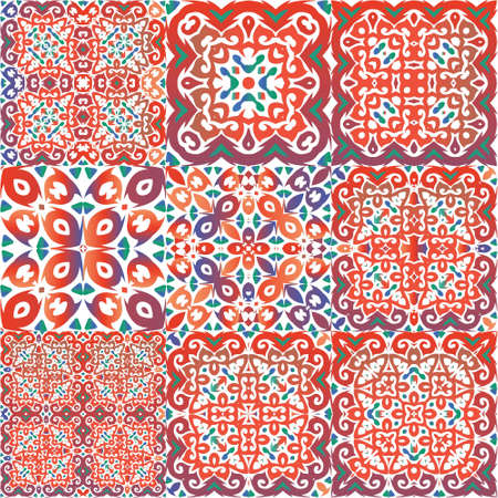 Traditional ornate mexican talavera. Collection of vector seamless patterns. Universal design. Red abstract backgrounds for web backdrop, print, pillows, surface texture, wallpaper, towels.