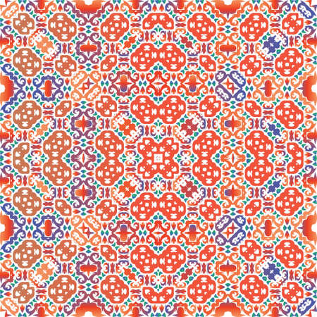 Decorative color ceramic talavera tiles. Graphic design. Vector seamless pattern texture. Red folk ethnic ornament for print, web background, surface texture, towels, pillows, wallpaper.