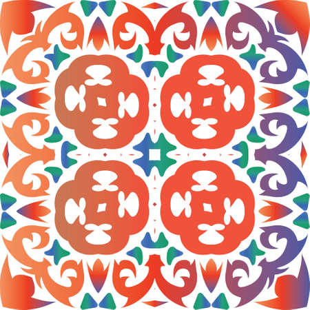 Mexican ornamental talavera ceramic. Graphic design. Vector seamless pattern collage. Red vintage backdrop for wallpaper, web background, towels, print, surface texture, pillows.