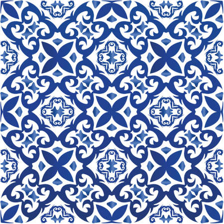 Ceramic tiles azulejo portugal. Vector seamless pattern poster. Minimal design. Blue ethnic background for T-shirts, scrapbooking, linens, smartphone cases or bags.
