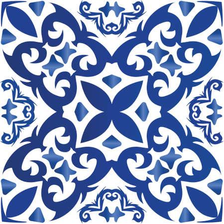 Decorative color ceramic azulejo tiles. Vector seamless pattern concept. Stylish design. Blue folk ethnic ornament for print, web background, surface texture, towels, pillows, wallpaper.