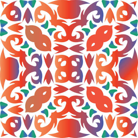Antique ornate tiles talavera mexico. Colored design. Vector seamless pattern watercolor. Red ethnic background for T-shirts, scrapbooking, linens, smartphone cases or bags.