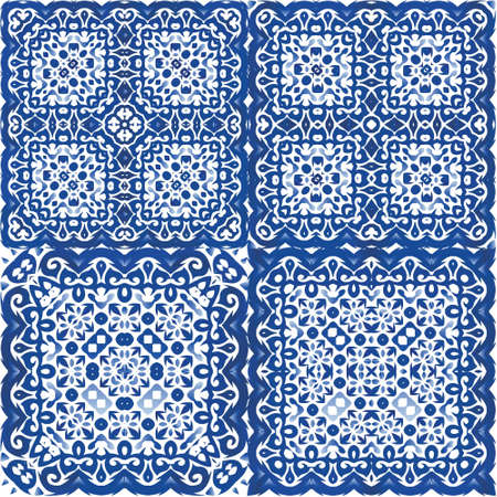 Ceramic tiles azulejo portugal. Set of vector seamless patterns. Colored design. Blue ethnic backgrounds for T-shirts, scrapbooking, linens, smartphone cases or bags.