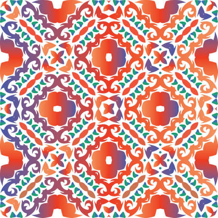Decorative color ceramic talavera tiles. Vector seamless pattern theme. Minimal design. Red folk ethnic ornament for print, web background, surface texture, towels, pillows, wallpaper.