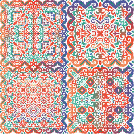 Mexican ornamental talavera ceramic. Fashionable design. Kit of vector seamless patterns. Red vintage backdrops for wallpaper, web background, towels, print, surface texture, pillows.