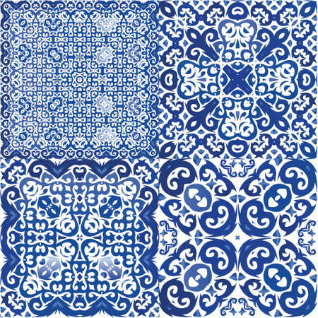 Portuguese ornamental azulejo ceramic. Kit of vector seamless patterns. Modern design. Blue vintage backdrops for wallpaper, web background, towels, print, surface texture, pillows.