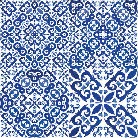 Antique portuguese azulejo ceramic. Collection of vector seamless patterns. Universal design. Blue floral and abstract decor for scrapbooking, smartphone cases, T-shirts, bags or linens.