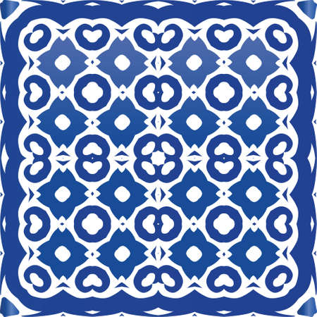 Ceramic tiles azulejo portugal. Vector seamless pattern flyer. Colored design. Blue ethnic background for T-shirts, scrapbooking, linens, smartphone cases or bags. Illusztráció
