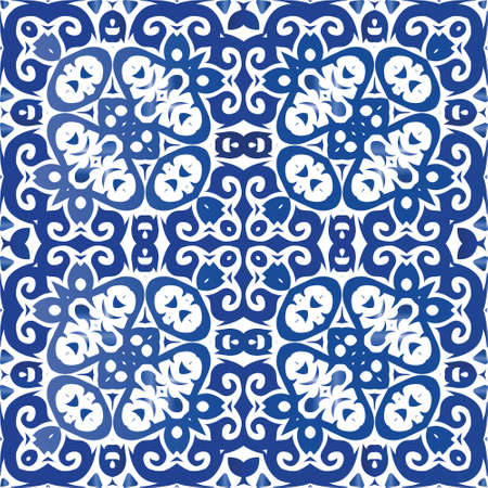 Traditional ornate portuguese azulejo. Stylish design. Vector seamless pattern frame. Blue abstract background for web backdrop, print, pillows, surface texture, wallpaper, towels.