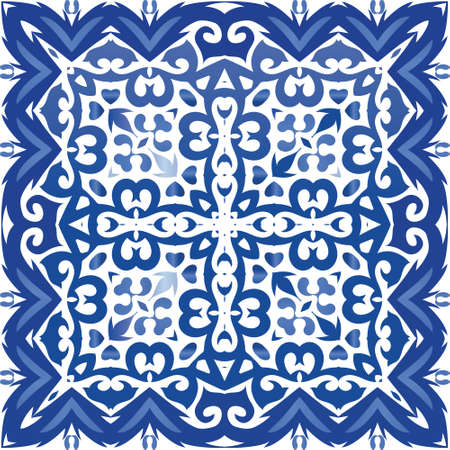 Ceramic tiles azulejo portugal. Vector seamless pattern arabesque. Hand drawn design. Blue ethnic background for T-shirts, scrapbooking, linens, smartphone cases or bags.