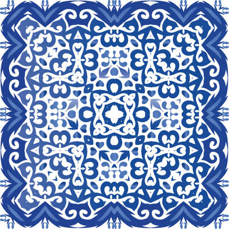Portuguese ornamental azulejo ceramic. Vector seamless pattern theme. Stylish design. Blue vintage backdrop for wallpaper, web background, towels, print, surface texture, pillows.