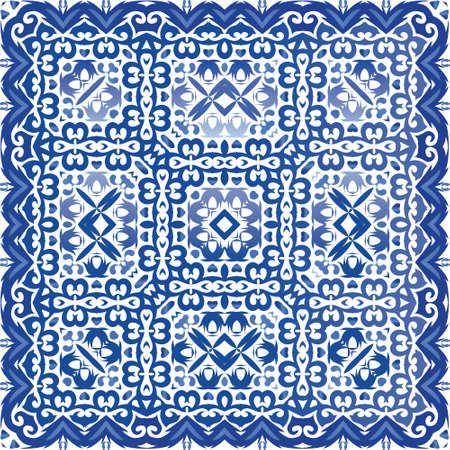 Portuguese ornamental azulejo ceramic. Vector seamless pattern flyer. Bathroom design. Blue vintage backdrop for wallpaper, web background, towels, print, surface texture, pillows.