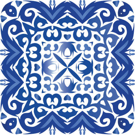 Ceramic tiles azulejo portugal. Vector seamless pattern collage. Colored design. Blue ethnic background for T-shirts, scrapbooking, linens, smartphone cases or bags.
