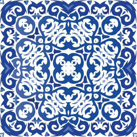 Decorative color ceramic azulejo tiles. Vector seamless pattern template. Colored design. Blue folk ethnic ornament for print, web background, surface texture, towels, pillows, wallpaper.