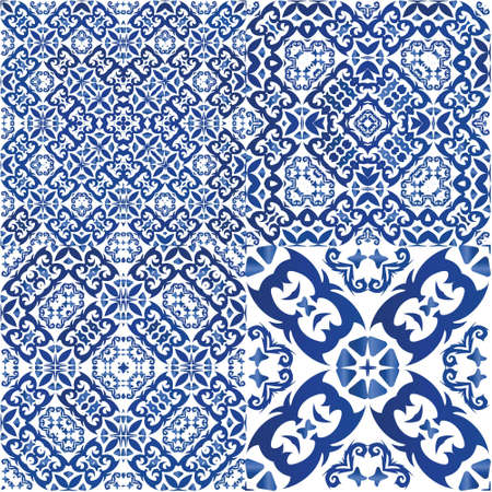 Decorative color ceramic azulejo tiles. Hand drawn design. Collection of vector seamless patterns. Blue folk ethnic ornaments for print, web background, surface texture, towels, pillows, wallpaper.