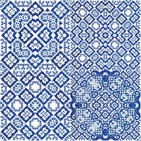 Traditional ornate portuguese azulejos. Kitchen design. Set of vector seamless patterns. Blue abstract backgrounds for web backdrop, print, pillows, surface texture, wallpaper, towels.