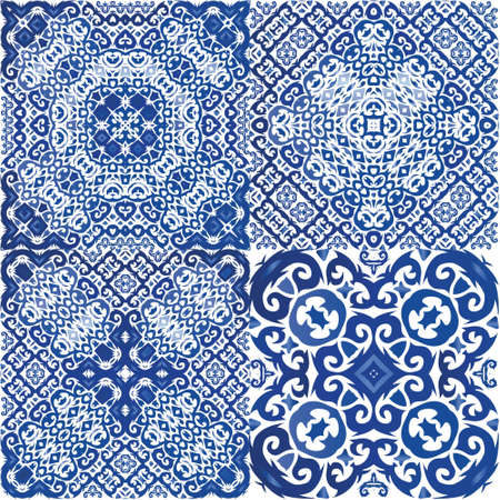 Ceramic tiles azulejo portugal. Kit of vector seamless patterns. Modern design. Blue ethnic backgrounds for T-shirts, scrapbooking, linens, smartphone cases or bags. Illusztráció