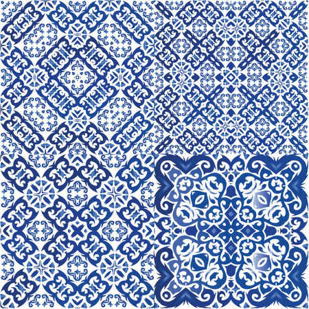 Ceramic tiles azulejo portugal. Set of vector seamless patterns. Stylish design. Blue ethnic backgrounds for T-shirts, scrapbooking, linens, smartphone cases or bags.