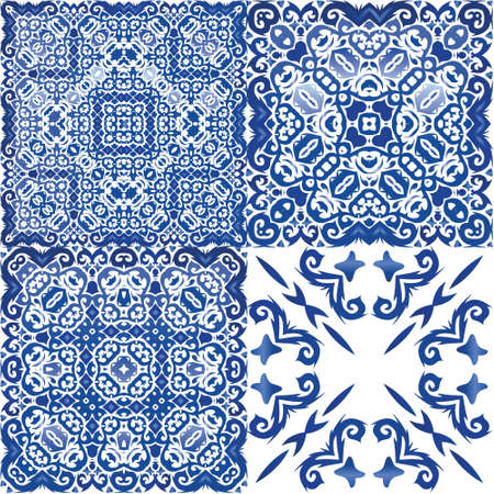 Traditional ornate portuguese azulejos. Geometric design. Collection of vector seamless patterns. Blue abstract backgrounds for web backdrop, print, pillows, surface texture, wallpaper, towels. Illusztráció