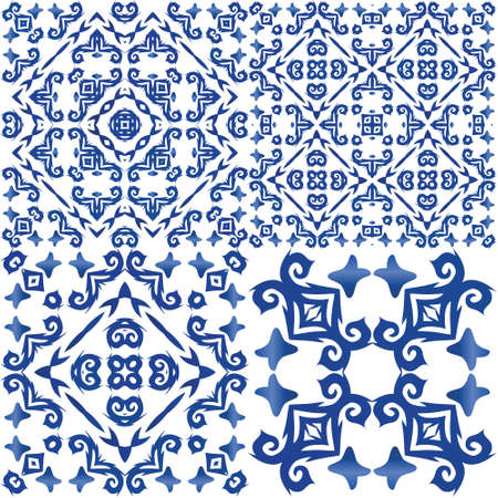 Decorative color ceramic azulejo tiles. Minimal design. Set of vector seamless patterns. Blue folk ethnic ornaments for print, web background, surface texture, towels, pillows, wallpaper.