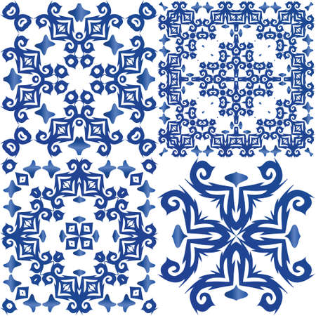 Portuguese ornamental azulejo ceramic. Modern design. Collection of vector seamless patterns. Blue vintage backdrops for wallpaper, web background, towels, print, surface texture, pillows.