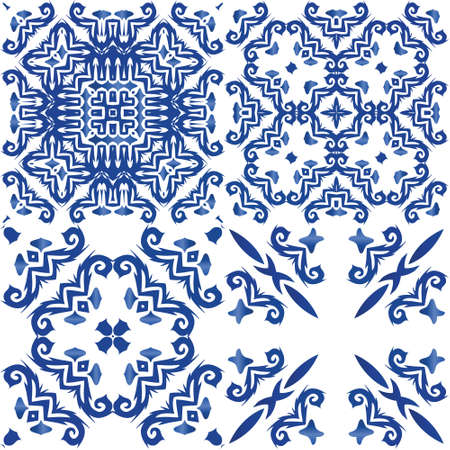 Ornamental azulejo portugal tiles decor. Stylish design. Collection of vector seamless patterns. Blue gorgeous flower folk prints for linens, smartphone cases, scrapbooking, bags or T-shirts.