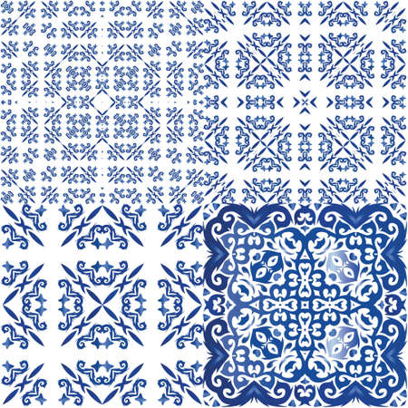 Traditional ornate portuguese azulejos. Bathroom design. Kit of vector seamless patterns. Blue abstract backgrounds for web backdrop, print, pillows, surface texture, wallpaper, towels.