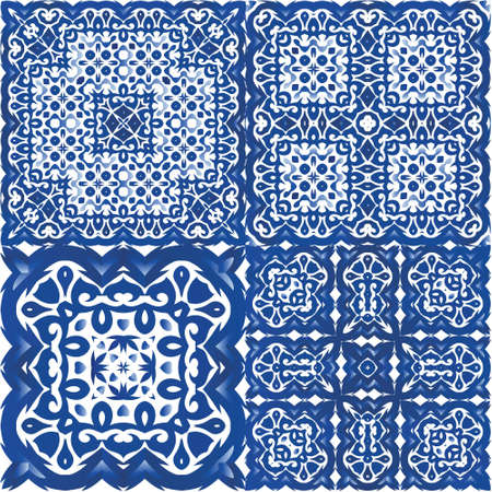 Portuguese vintage azulejo tiles. Collection of vector seamless patterns. Universal design. Blue antique backgrounds for pillows, print, wallpaper, web backdrop, towels, surface texture.