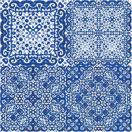 Portuguese ornamental azulejo ceramic. Kit of vector seamless patterns. Hand drawn design. Blue vintage backdrops for wallpaper, web background, towels, print, surface texture, pillows.