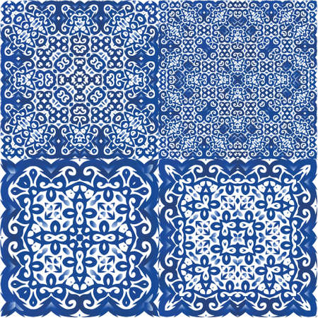 Ornamental azulejo portugal tiles decor. Graphic design. Set of vector seamless patterns. Blue gorgeous flower folk prints for linens, smartphone cases, scrapbooking, bags or T-shirts.