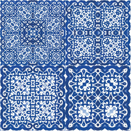 Ceramic tiles azulejo portugal. Collection of vector seamless patterns. Kitchen design. Blue ethnic backgrounds for T-shirts, scrapbooking, linens, smartphone cases or bags. Illusztráció