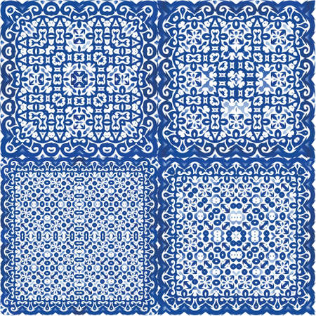 Portuguese vintage azulejo tiles. Fashionable design. Set of vector seamless patterns. Blue antique backgrounds for pillows, print, wallpaper, web backdrop, towels, surface texture.