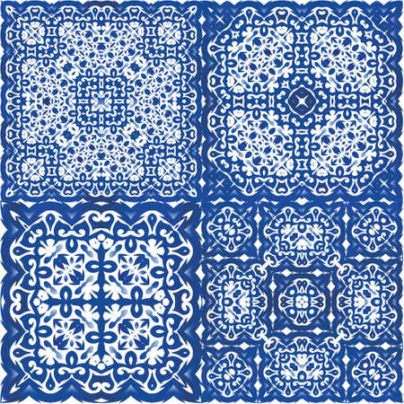 Antique portuguese azulejo ceramic. Modern design. Collection of vector seamless patterns. Blue floral and abstract decor for scrapbooking, smartphone cases, T-shirts, bags or linens.