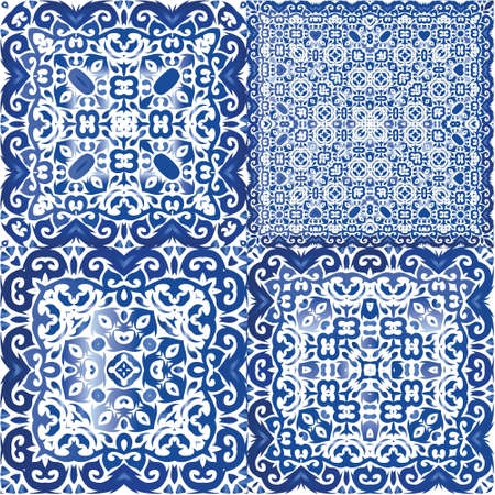 Ceramic tiles azulejo portugal. Colored design. Collection of vector seamless patterns. Blue ethnic backgrounds for T-shirts, scrapbooking, linens, smartphone cases or bags. Illusztráció
