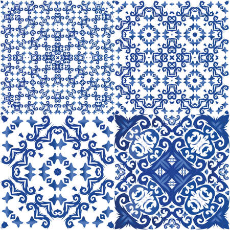 Ethnic ceramic tiles in portuguese azulejo. Kit of vector seamless patterns. Stylish design. Blue vintage ornaments for surface texture, towels, pillows, wallpaper, print, web background. Illusztráció