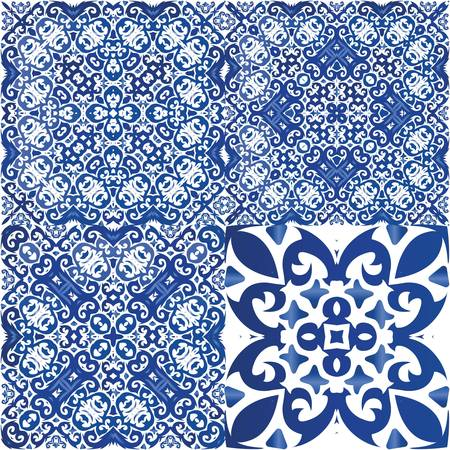Portuguese vintage azulejo tiles. Collection of vector seamless patterns. Fashionable design. Blue antique backgrounds for pillows, print, wallpaper, web backdrop, towels, surface texture.