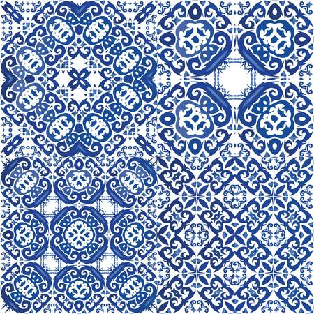 Ceramic tiles azulejo portugal. Stylish design. Set of vector seamless patterns. Blue ethnic backgrounds for T-shirts, scrapbooking, linens, smartphone cases or bags.