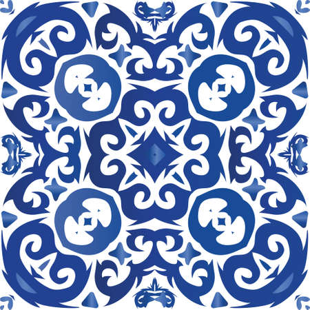 Ornamental azulejo portugal tiles decor. Vector seamless pattern collage. Modern design. Blue gorgeous flower folk print for linens, smartphone cases, scrapbooking, bags or T-shirts.