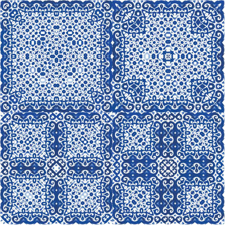 Ornamental azulejo portugal tiles decor. Graphic design. Kit of vector seamless patterns. Blue gorgeous flower folk prints for linens, smartphone cases, scrapbooking, bags or T-shirts.