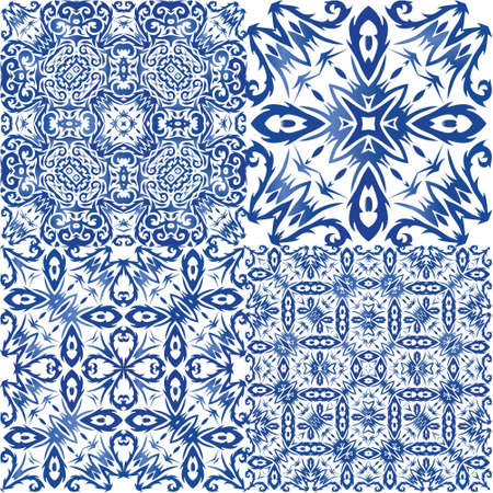 Ceramic tiles azulejo portugal. Kit of vector seamless patterns. Creative design. Blue ethnic backgrounds for T-shirts, scrapbooking, linens, smartphone cases or bags.