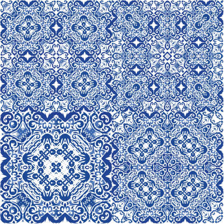 Decorative color ceramic azulejo tiles. Collection of vector seamless patterns. Universal design. Blue folk ethnic ornaments for print, web background, surface texture, towels, pillows, wallpaper.